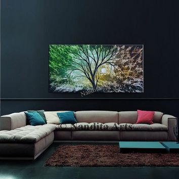 Gorgeous Brown and Green Wall Art on Canvas by Nandita Albright - Extra Large Abstract Painting Tree Art Home Decor Artwork 48x24in/120x60cm