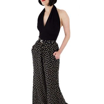 Vintage Yves St Laurent Silk Polka Dot Wide Leg Pants-S