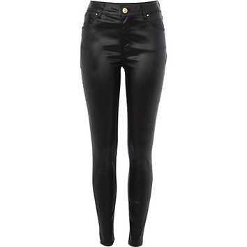 River Island Womens Black wet look Lana superskinny jeans