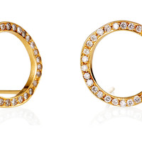 14K Yellow Gold & Pavé Diamond Earrings, Stud Earrings