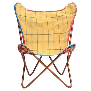 Kantha Butterfly Chair, Yellow/Navy, Kantha Throw, Accent & Occasional Chairs