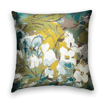 Robert Allen Woven  Pillow Cover-- 20 x 20  Watercolor Abstract Throw Pillow--Green,  Blue, Yellow, White and Brown.