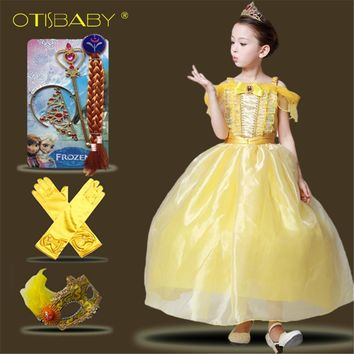 Girls Belle Princess Dress Beauty and The Beast Yellow Sleeveless Long Dresses for Party Children Girl Belle Cosplay Costume