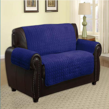 Microfiber Quilted Pet Furniture Protector Loveseat 88 x 76 - Navy