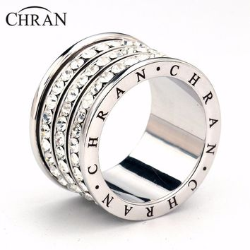 CHRAN Classic Silver Color 3 Rows Men Rings Promotion Costume Wedding Jewelry Crystal Finger Rings for Women