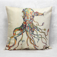 Hot Sale Funny Multicolor Octopus Creative Cotton Linen Cushion  45*45 Cm Sofa Bed Home Decor Pillow