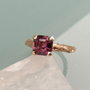 Asscher Cut Purple Spinel Twig Ring 14k Rose Gold Weddings Anniversary Organic Gemstone Jewelry