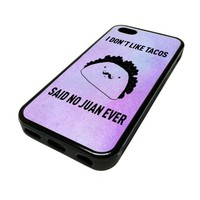 For Apple iPhone 5C 5 C Case Cover Skin Purple Ombre Taco No Juan Ever Cute Funny DESIGN BLACK RUBBER SILICONE Teen Gift Vintage Hipster Fashion Design Art Print Cell Phone Accessories