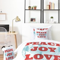 Heather Dutton Peace Joy Love Woodcut Bed In A Bag
