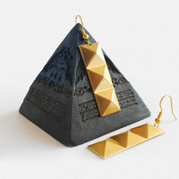 Statement Triple Pyramid Geometric Earrings - Minimalist Brass Urban Chic Earrings