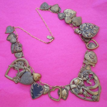 Pididdly Links Vintage Hearts Charm Necklace Brass Hearts Long Oversize Statement Jewelry