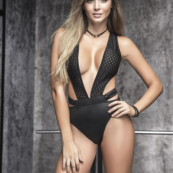 Sexy Black Bodysuit With Plunging Neckline- Sexy Bodysuits