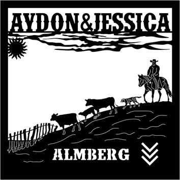 Almberg Sign Farm with cowboy, cows and dog scene