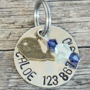 "Nautical Dog Tag - 7/8"" Layered Silver Tone Tag with a Whale Charm - Hand Stamped Pet ID Tag"