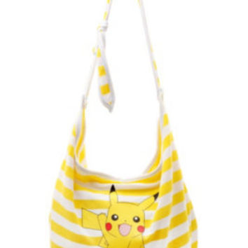 Pikachu Yellow+White Stripe Hobo Bag