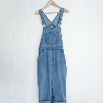 Vintage Overalls, Denim Overalls, Vintage Blue Jean Overalls. Faded 90s Boho Hipster Oversized Denim. Baggy Denim Jumpsuit. 1990s. Medium.