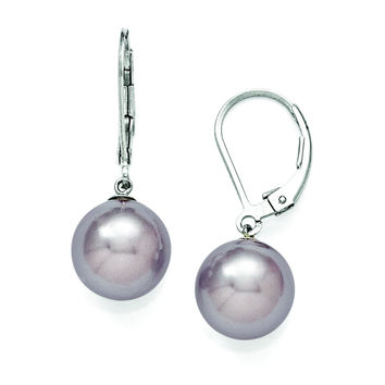 Sterling Silver Majestik 10-11mm Round Purple Shell Bead Leverback Earring QMJEL10PU