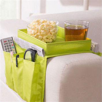 5 Pockets House Sofa Chair Couch Table Top Arm Rest Organizer Tray Green Storage Bag