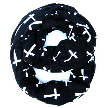 White Cross Infinity Scarf Cotton T-Shirt Knit Scarf Trendy Black Scarf with Crosses Endless Loop Womens Scarf Cute Teen Scarf Holiday Gift