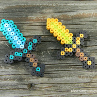 Minecraft Magnets, Perler Bead Magnets, Sword Magnets