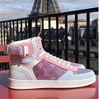 Louis Vuitton LV Women's Casual Embossed Letters Gradient High-Top Sneakers Shoes