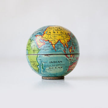 Vintage globe pencil sharpener German mini world map desk accessory figurine miniature