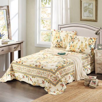 Tache 3 Piece Floral Yellow Summer Rose Reversible Bedspread Set