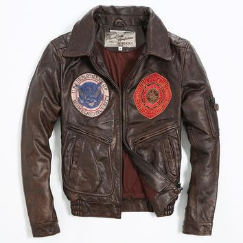 Avirex fly vintage badge leather bomber jacket men pattern flight jacket motorcycle genuine lether jacket men brown leather coat