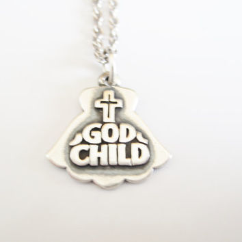 Godchild Pendant Necklace God Child James Avery Original Chain Sterling