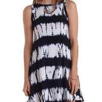 Navy Combo Tie-Dye Trapeze Tank Dress by Charlotte Russe