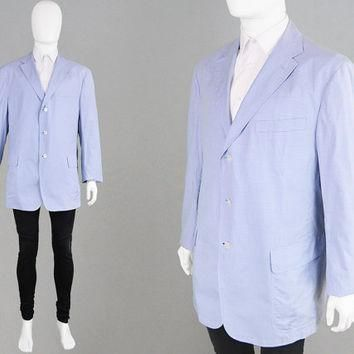 Vintage 80s 90s RALPH LAUREN Polo Lightweight Cotton Blazer Gingham Jacket Mens XL Sum