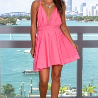 Neon Pink Short Dress with Criss Cross Back and Lace Detail