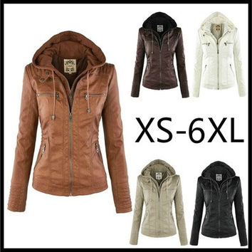 2017 Fashion New Women and Men Casual Cool Leather Coat for Couple Winter Slim Removable Zippers Hoodies Jacket Big Size XS-XXXXXXL [9714859535]