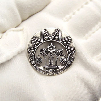 Dress Clip Sasa Silver Plate Art Deco Vintage Jewelry Signed