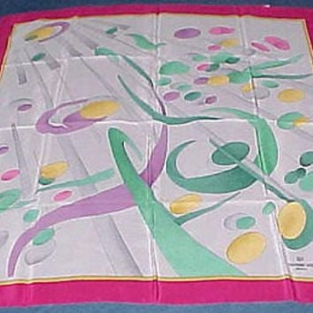 No Cost To Send Fashionista Raymond Weil Geneve Italy Abstract Silk Scarf Vtg
