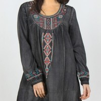 Monoreno Embroidered Denim Dress - Black