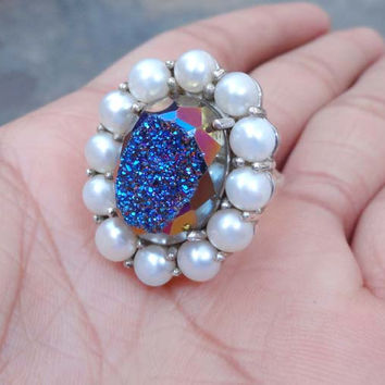 Druzy Ring -Genuine Pearl Ring - Natural Titanium Blue Druzy Silver ring -Freshwater Pearl Jewelry -women rings -multi stone ring
