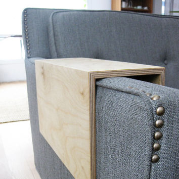 Couch Arm Wrap - PLYWOOD reclaimed wood arm drink rest table for couch / sofa