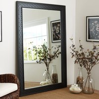 Black Fretwork Floor Mirror
