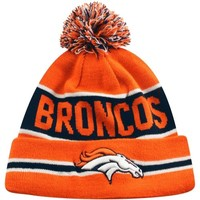 New Era Denver Broncos The Coach Cuffed Knit Beanie with Pom - Orange/Navy Blue