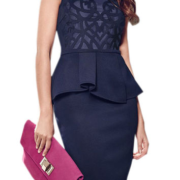 Navy Blue Carving Lace Peplum Dress
