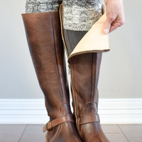 Grey Peppered Reversible Ombre Boot Cuff
