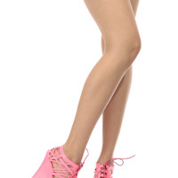 Neon Pink Faux Leather Cut Out Open Toe Lace Up Wedges