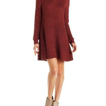 Red A-Line Shift Sweater Dress by Charlotte Russe