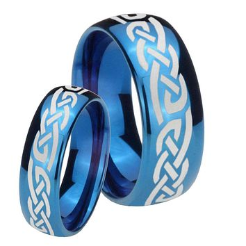 Bride and Groom Celtic Knot Infinity Love Dome Blue Tungsten Personalized Ring Set