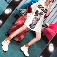 """Moschino"" Loose Casual Fashion Cartoon Rhinestone Mickey Letter Print Middle Sleeve Middle Long SectionT-shirt Dress"