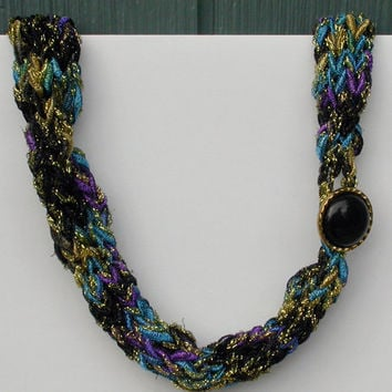 Fiber Knitted Necklace with Vintage Button Closure, Lightweight, Fashion Accessory, Gift, Blue, Black, Gold, Purple with Metallic, Bling