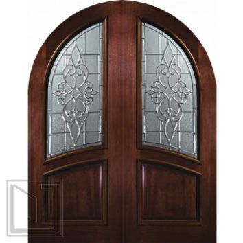 Pre-hung Entry Double Door 96 Wood Mahogany Courtlandt Round Top