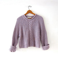 vintage cropped sweater. cable knit sweater. loose knit sweater. purple speckled pullover.