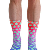 Pixelated Weed Crew Socks
